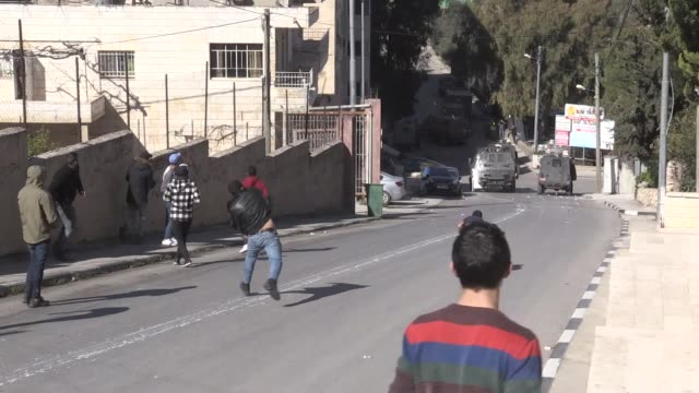 israeli forces injure 4 palestinians with rubber bullets on february 06 2020 during clashes between palestinians and the israeli forces also hit... - israel palestine conflict stock videos & royalty-free footage