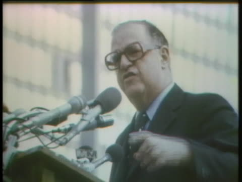 israeli foreign minister abba eban addresses a large crowd of demonstrators at a proisrael rally near the united nations - (war or terrorism or election or government or illness or news event or speech or politics or politician or conflict or military or extreme weather or business or economy) and not usa video stock e b–roll