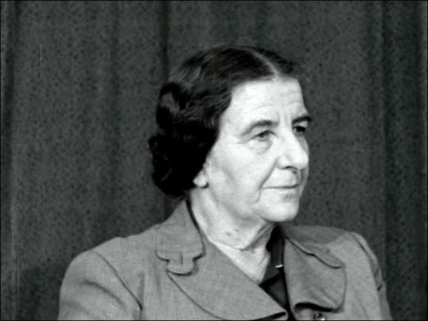 israeli foreign minister golda meir interviewed england london airport int golda meir interview sof what we wanted with the sinai operation was to... - suez canal stock videos and b-roll footage