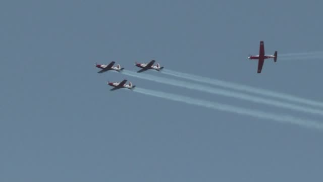 Israeli military stages an air show to mark the 70 years since the founding of the country according to the Hebrew calendar celebrated as Israel's...