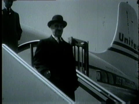 israeli minister of development dov yosef arrives in chicago and walks off a plane in 1954 - 1954 stock videos & royalty-free footage
