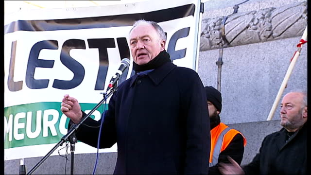 london demonstrations ken livingstone speech to demonstrators in trafalgar square sot calls for government to withdraw british ambassador from israel... - dominanz stock-videos und b-roll-filmmaterial