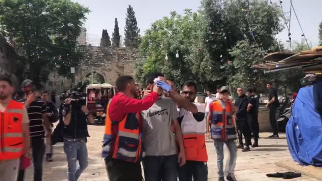israeli police on monday stormed the al-aqsa mosque in occupied east jerusalem and attacked the palestinians who were on guard to prevent the raid of... - barricade stock videos & royalty-free footage