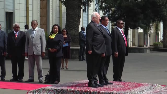 israeli president rueven rivlin is welcomed by ethiopian president mulatu teshome wirtu with an official ceremony and two leaders hold a meeting at... - horn of africa stock videos & royalty-free footage
