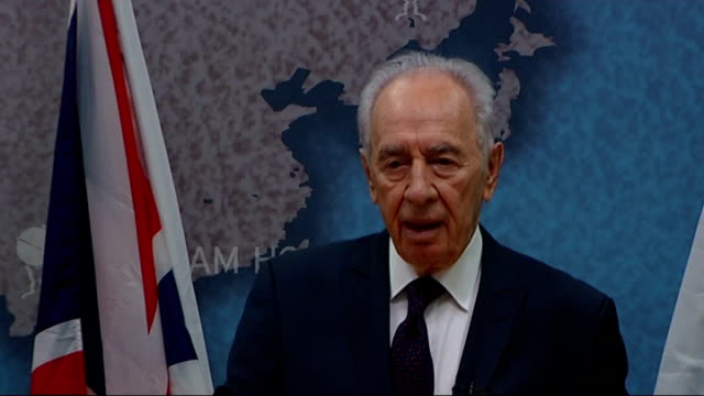 israeli president shimon peres speaks at chatham house to mark 60 years of british-israeli relations; shimon peres speech continued sot now again... - human face video stock e b–roll