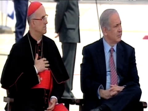 israeli prime minister benjamin netanyahu and cardinal listen to pope benedict xvi during tour of middle east; 12 may 2009 - minister clergy stock videos & royalty-free footage