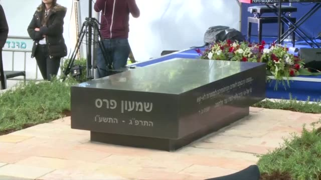 Israeli Prime Minister Benjamin Netanyahu attended the unveiling of a headstone at the grave of late president and Nobel Peace Prize winner Shimon...