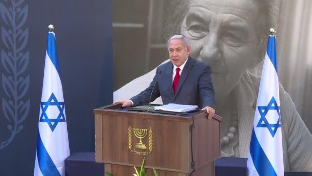 israeli prime minister benjamin netanyahu attends a state memorial ceremony for former israeli premier golda meir in jerusalem - benjamin netanyahu stock videos & royalty-free footage