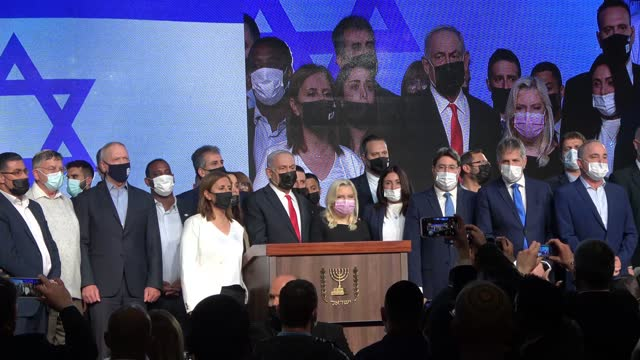 israeli prime minister benjamin netanyahu, his wife sara netanyahu and likud party members wearing a mask for protection against the covid-19... - election stock videos & royalty-free footage