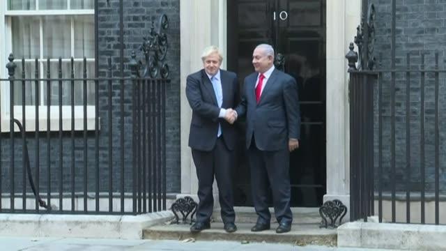 israeli prime minister benjamin netanyahu meets british prime minister boris johnson at 10 downing street - benjamin netanyahu stock videos & royalty-free footage