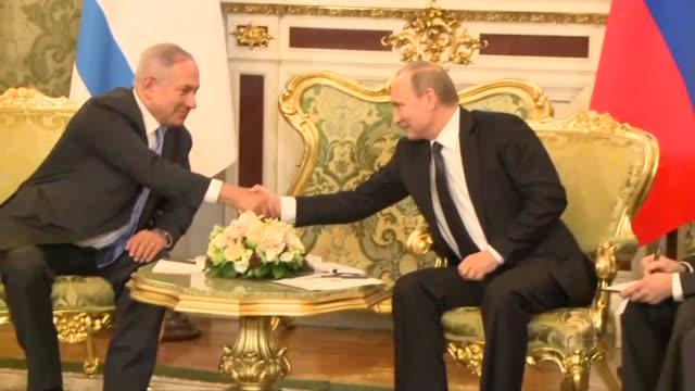israeli prime minister benjamin netanyahu meets russian president vladimir putin during his official visit to russia - benjamin netanyahu stock videos & royalty-free footage