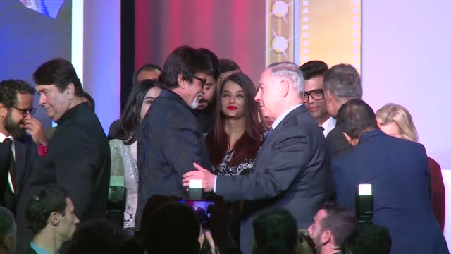 Israeli Prime Minister Benjamin Netanyahu met with Bollywood celebrities in Mumbai Thursday on day five of his India tour