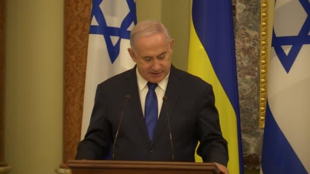israeli prime minister benjamin netanyahu speaks during joint a statement with ukrainian president volodymyr zelensky during their meeting in kiev,... - benjamin netanyahu stock videos & royalty-free footage