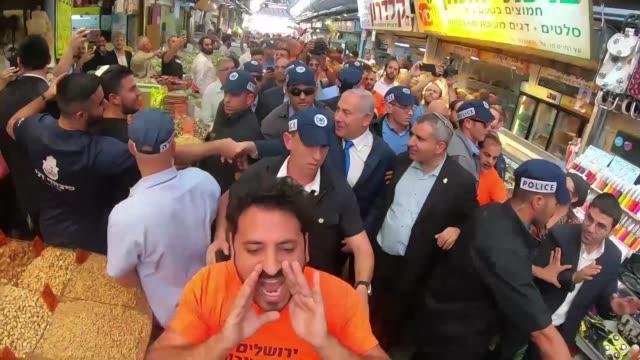 israeli prime minister benjamin netanyahu visit the mahane yehuda market in jerusalem, ahead of the municipal elections, on october 24, 2018. - benjamin netanyahu stock videos & royalty-free footage