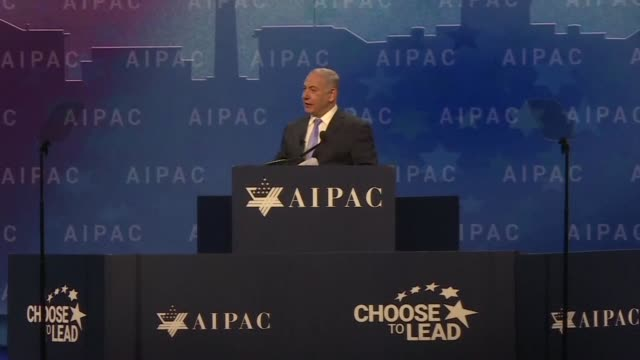 israeli prime minister benyamin netanyahu hails the us decision to recognize jerusalem as israel's capital at the annual conference of the american... - lobby stock videos & royalty-free footage