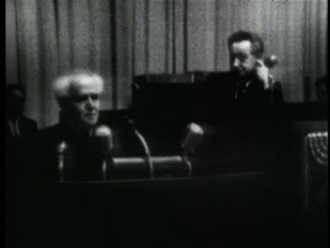 israeli prime minister david ben-gurion speaks at an emergency session of the israeli cabinet. - 1957 stock videos & royalty-free footage