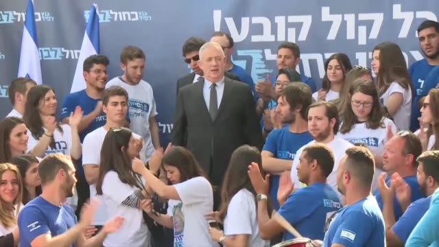israeli prime minister netanyahu main election rival benny gantz gives his last speech before the april 9 legislative elections at the blue and white... - benjamin netanyahu stock videos & royalty-free footage