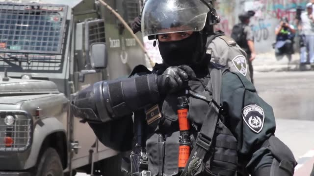 Israeli security forces clash with Palestinians following a protest against Israeli violations at AlAqsa Mosque Compound on July 28 2017 in Kafr...