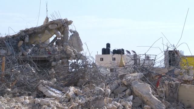 israeli security forces demolish a home said to have been built illegally near the camp of qalandiya a palestinian village located in the west bank - demolished stock videos & royalty-free footage