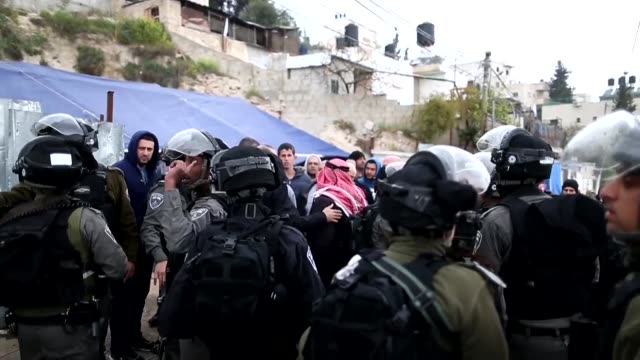 israeli security forces prevented palestinian men from entering a memorial tent for ibrahim matar a palestinian man shot dead on monday in east... - east jerusalem stock videos and b-roll footage
