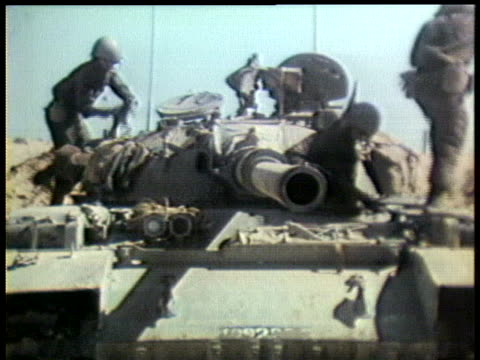 israeli soldiers board a tank for a patrol into the occupied sinai. - tank stock videos & royalty-free footage