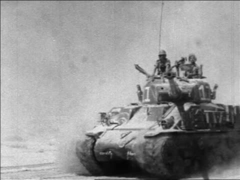 israeli tank with 2 cheering soldiers passing camera / six day war / newsreel - six day war stock videos & royalty-free footage