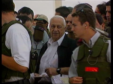 israeli tanks move into west bank pool israeli prime minister ariel sharon along as visiting construction of dividing wall - ariel sharon stock videos and b-roll footage