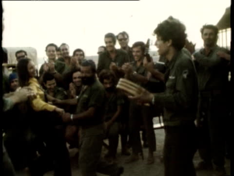 israeli troops singing and dancing yom kippur war on october 09 1973 in israel - military camp stock videos & royalty-free footage
