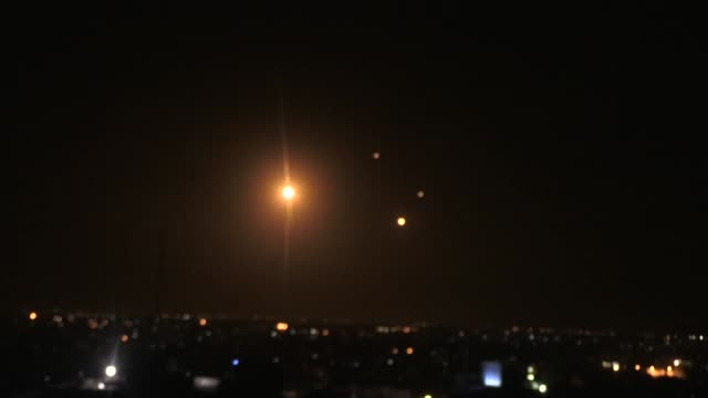 israeli warplanes launch airstrikes across the gaza strip on march 25 2019 airstrikes come in ostensible response to rocketfire by gazabased... - luftangriff stock-videos und b-roll-filmmaterial