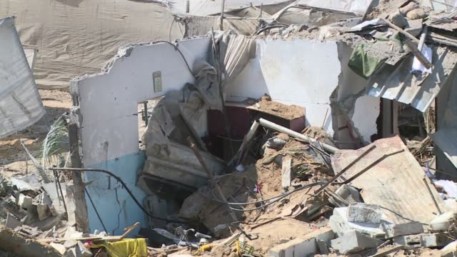 israeli warplanes struck gaza early on wednesday killing seven people in the central town of deir al balah among them a heavily pregnant woman and... - ruined stock videos & royalty-free footage