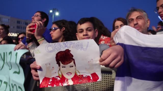 israelis attend netta barzilai's welcome concert in the israeli coastal city of tel aviv to celebrate her victory at the eurovision song contest - eurovision song contest stock videos & royalty-free footage
