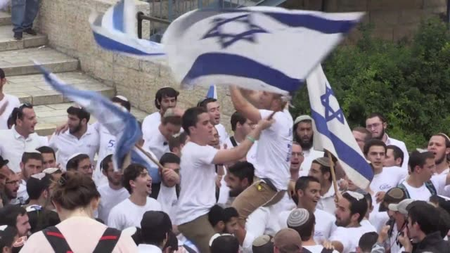 Israelis celebrate Jerusalem Day an annual celebration of the reunification of the city following the 1967 Six Day War in the Muslim neighbourhood of...