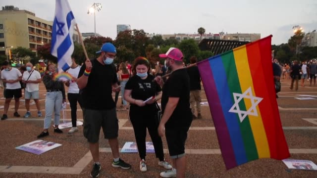 israelis take part in a muted lgbt events in the israeli city of tel aviv, as the usually larger gatherings were cancelled due to coronavirus... - soft focus stock videos & royalty-free footage