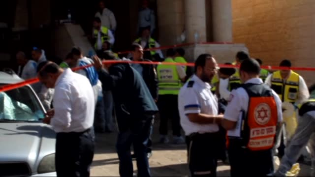 stockvideo's en b-roll-footage met israelis were killed and seven others injured in an attack by two palestinians on a jewish synagogue in west jerusalemisrael on 18 november2014 - israëlisch palestijns conflict