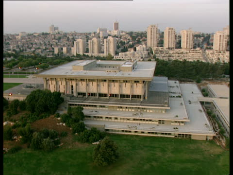 AERIAL WS Israel's Parliament called Knesset in new city of Jerusalem, Israel