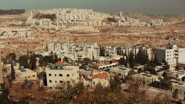ws - isreali settlement in the west bank as seen from bethlehem, palestine. - apartheid stock videos & royalty-free footage