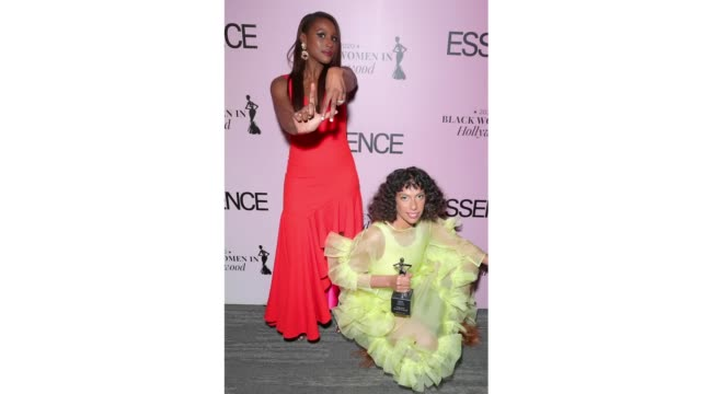 issa rae and honoree melina matsoukas pose during the 2020 13th annual essence black women in hollywood luncheon at beverly wilshire, a four seasons... - フォーシーズンズホテル点の映像素材/bロール