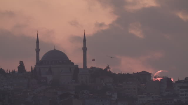 MS of Istanbul and Blue Mosque at sunset