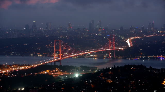 istanbul bosphorus bridge at night - july 15 martyrs' bridge stock videos and b-roll footage