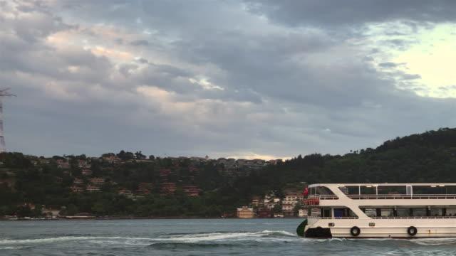Istanbul Bosphorus sunset in ship