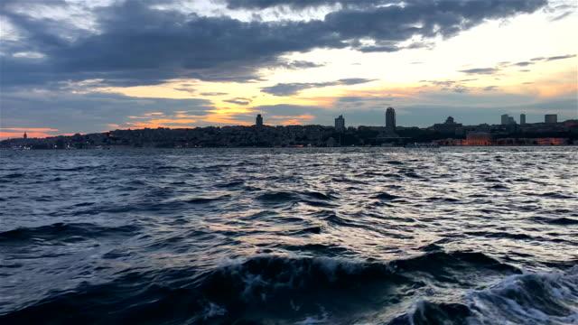 istanbul bosphorus sunset in ship - byakkaya stock videos and b-roll footage