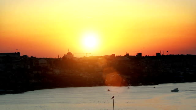istanbul bosphorus sunset time lapse - golden horn istanbul stock videos and b-roll footage