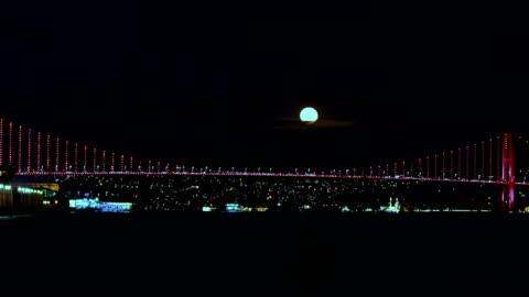 4k istanbul bosphorus timelapse - supermoon rising - turkey middle east stock videos & royalty-free footage