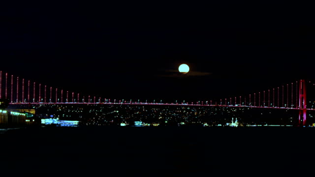 4k istanbul bosphorus timelapse - supermoon rising - july 15 martyrs' bridge stock videos & royalty-free footage