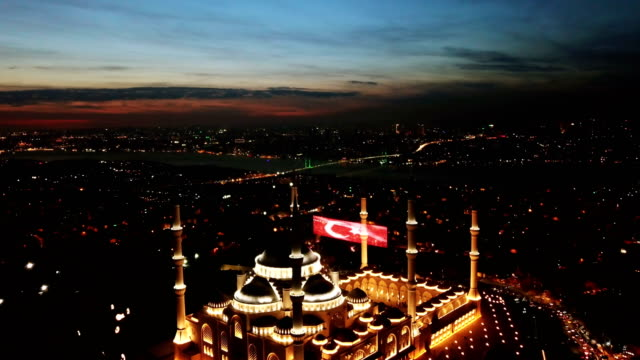 istanbul camlica mosque and bosphorus aerial drone view - moschea video stock e b–roll