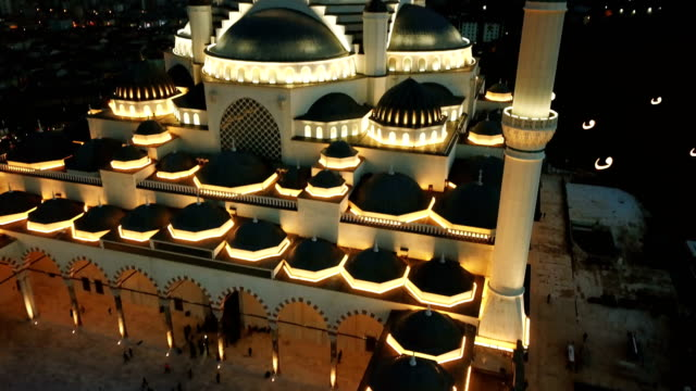 Istanbul Camlica Mosque and Bosphorus Aerial Drone View