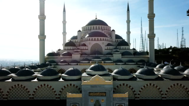 istanbul camlica mosque and bosphorus aerial drone view - mosque stock videos & royalty-free footage