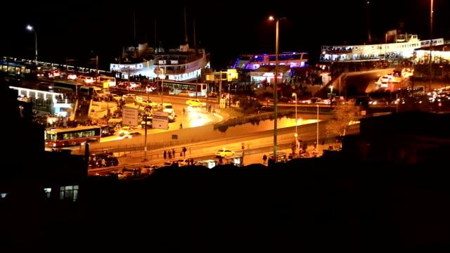 istanbul city verkehr in der nacht - galataturm stock-videos und b-roll-filmmaterial