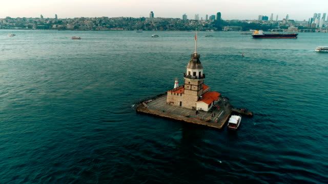 Istanbul Cityscape And Maiden's Tower At Sunset in Istanbul by Drone