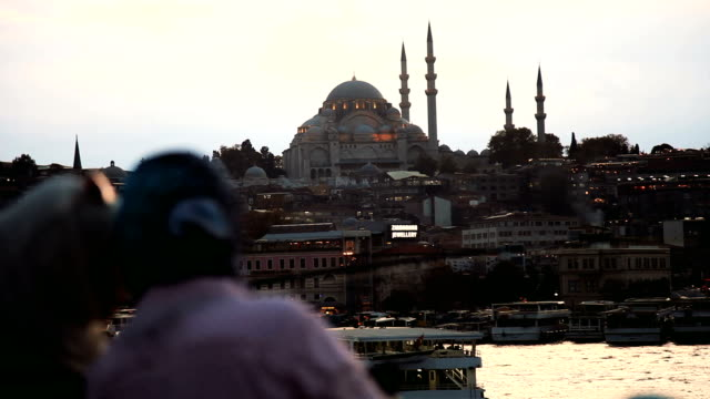 istanbul cityscape from galata bridge - sultanahmet district stock videos and b-roll footage